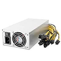 KKmoon 2400W Switching Server Power Supply 90% High Efficiency Mining Machine Power Source for Ethereum S9 S7 L3 Rig Mining 220V