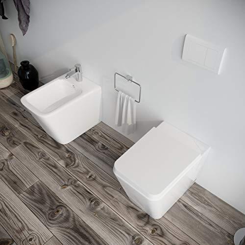 Sanitari bagno filomuro a terra Bidet e Vaso WC in ceramica con sedile coprivaso softclose. Ponsi WAVE