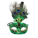 Xinwcanga Máscara con Plumas del Pavo Real para Halloween Disfraces de Cosplay Halloween de la Navidad (Verde, Talla única)