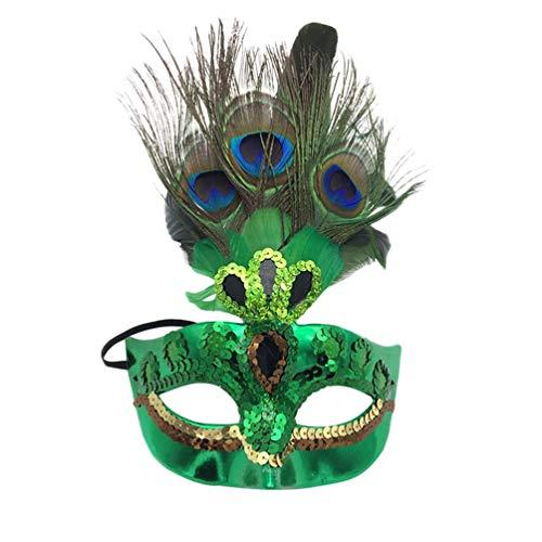 r-Maske Maskenball Kostüm-Party Halloween Cosplay Damen Gesicht Augenmaske (Grün, One size) ()