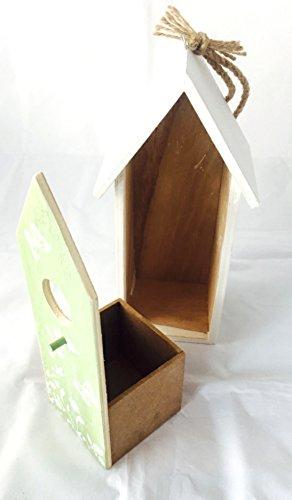 Vogelhaus Nistkasten aus Holz grün zum hängen mit Schmetterlingen mit herausnehmbarem Innenteil und Futtertrog innen, 25cm x 9cm x 8cm Gesamtlänge ca. 50cm dank Kordel zum hängen, - 4