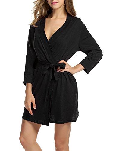 UNibelle Damen Morgenmantel 3/4 Ärmel Bademantel Kimono Baumwolle Saunamantel Robe Negligee Mit V-Ausschnitt, 1-schwarz, S