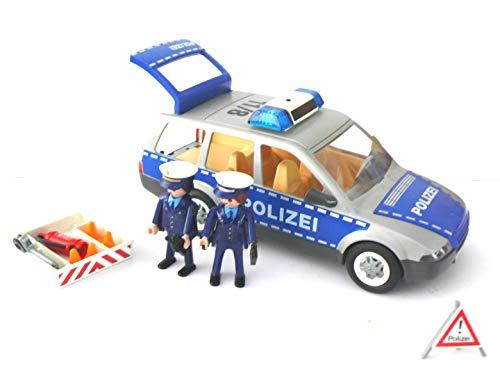 playmobil ® - 4259 - Polizei-Einsatzwagen mit 2 Polizisten - Pylonen Feuerl. Elektronisches Blaulicht mit Batterie
