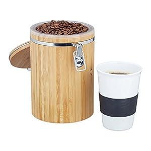 Relaxdays Boîte à café bambou boîte à thé coffret thé café fermeture hermétique couvercle- nature - HxlxP: 20 x 13,5 x 13,5 cm
