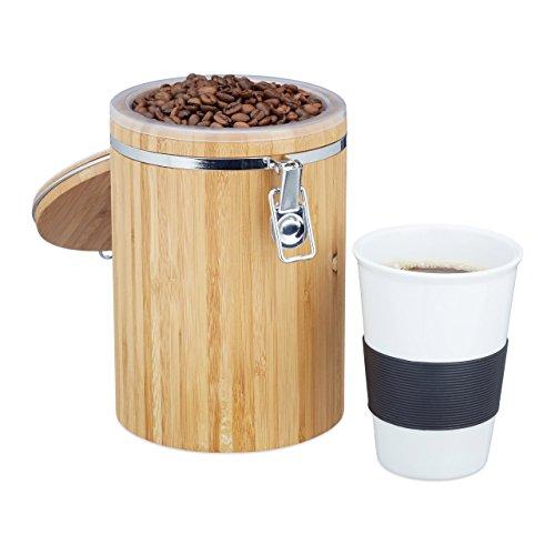 Relaxdays Kaffeedose Bambus, leicht zu reinigen, Kunststoffbehälter, Bügelverschluss, H x B x T:...