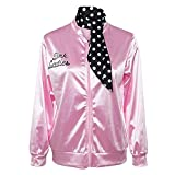 Dress_Start Jacke Damen Winter,Halloween Kostüm,Ladies Pink schicke Jacke 50er 60er 70er Jahre Damen Kostüm, Pink Jacke aus Satin mit Polka Dots Schal, Party Rock n Roll (Pink, XL)