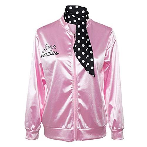 381bbf4ca4d82f ... Damen Winter,Halloween Kostüm,Ladies Pink schicke Jacke 50er 60er 70er Jahre  Damen Kostüm, Pink Jacke aus Satin mit Polka Dots Schal, Party Rock n Roll  ...