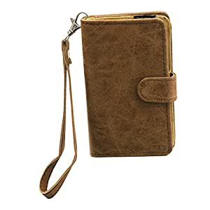 J Cover A9 CLASSIC Leather Carry Case Cover Pouch Wallet Case For Lenovo K6 Tan