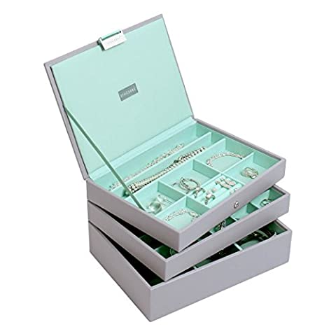Stackers Dove Grey & Mint Classic Jewellery Box - Set of 3