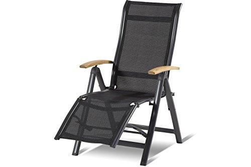 Hartman Alice Relaxsessel in edlem Xerix-Black, solides Aluminiumgestell, Liegefläche aus hochwertigem Textilen, 95 x 60 x 111 cm, Kopfteil verstellbar, Teakholz-Armlehnen, Bodenschoner, wetterfest