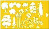 30cm x 17,5cm Flexibel Kunststoff Universal Schablone - Textil Kuchen Wand Airbrush Möbel Dekor Dekorative Muster Torte Design Technisches Zeichnen Zeichenschablone Wandschablone Kuchenschablone - Maßstab 1:100 Bäume Landschaftsbild Garten Wald Design-Formate