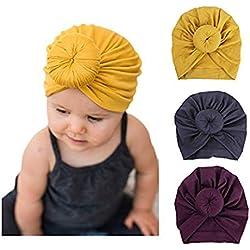 DRESHOW Chapeau de bébé nouveau-né bébé fille doux chapeau d'hôpital lapin noeud Turban mignon (3 Pack Donut / 3-24 mois)