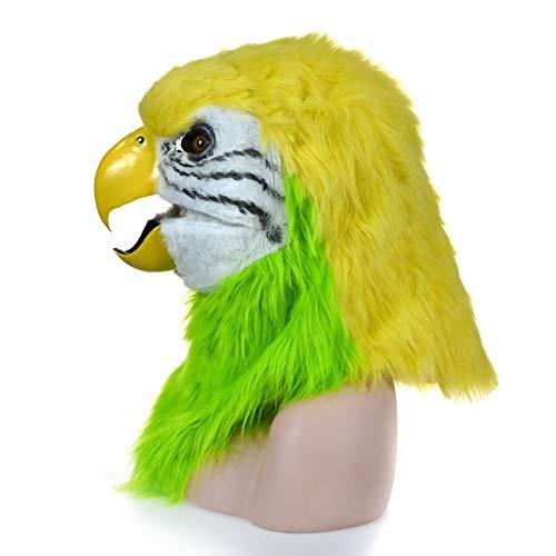 XIANCHUAN Heißer Verkauf Naturalistic Handmade Customized Cosplay Moving Mouth Mask Pelzigen Simulation Tierkopf Maske für Halloween Creepy Party Requisiten Mund Aktivität (Papagei)