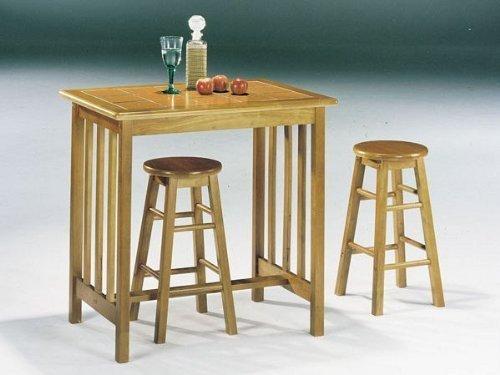 Mission Oak Terra Cotta 3Pc Breakfast Table Stool Set by Acme Furniture Mission Terra Cotta
