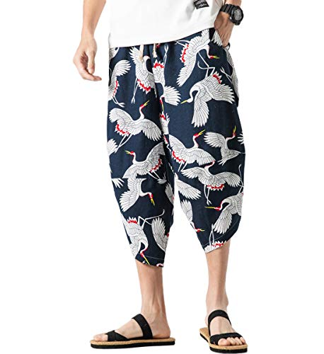 8bb8f26514fe75 Mirecoo - pantaloni harem da uomo con due tasche schwarzblau 57 l