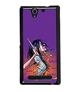 PrintDhaba Music Lover Girl Back Case Cover for SONY XPERIA C3 - D3921