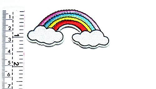 Cartoon-patch (Regenbogenwolke buntes Sky Light Arc Hippie Boho Retro Cartoon Kinder Studenten Patch Weste/Jacke Biker Biker Biker Tattoo Jacke T-Shirt Aufnäher Aufbügler Aufbügler)