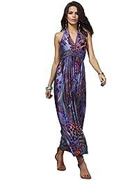 Neighbor Girl vestido de seda de color bohemio del pavo real de la flor de la leche longitud de la falda de la cintura Halter