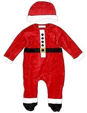 Baby Jungen Weihnachten Weihnachtsmann Kostüm Velour Strampler & Hat Set größen von Neugeborene bis 9 Monate