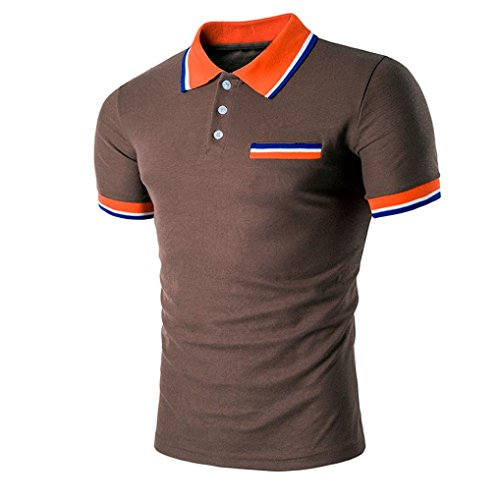 ASHOP Herren-Buttons Design Halber Cardigans Short Sleeve Slim Fit Casual T-Shirt (XL, Braun)