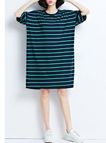 ELLAZHU Femme Été Grande Taille Mi-Longue Rayuré Chemise Robes GA644 green