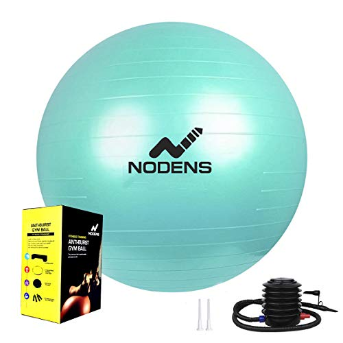 Nodens Gym Ball, Anti-Burst Gym Ball (55 cm / 65cm / 75 cm /85 cm / 95 cm) with Foot Pump, Balance Ball for Pilates, Yoga, Birthing, Stability Gym Workout Training and Physical Therapy (Green-95cm)