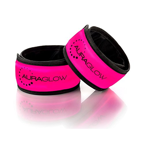 Auraglow Super Bright High Visibility Light-Up LED Arm Band Reflective Running Bracelet Cycling Safety Band - Twin Pack - Pink