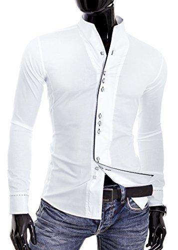 Herren Hemd Kontrastlinie Entlang Befestigungs Stehkragen Weiß Schwarz Weiß