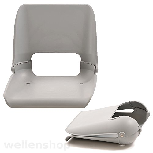Nautika Bootssitz Kunststoff grau Sitzschale klappbar wetterfest außen für Boote Bootsstuhl Sitz Stuhl Boot Angelboot -