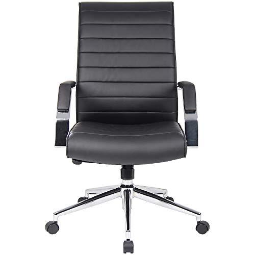 Certeo Chefsessel Identity mit Lederbezug und edler Rückenlehne, schwarz - Bürostuhl mit Soft Touch Leder - Schreibtischstuhl mit italienischem Design