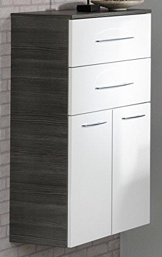 Fackelmann Doppel Midischrank VADEA / Schrank zum Aufhängen / Badmöbel / Maße (BxHxT): ca. 70,5 x 101 x 32 cm / Korpus Farbe Anthrazit / Front Farbe Weiß Hochglanz / Breite 70,5 cm / Schrank fürs Bad