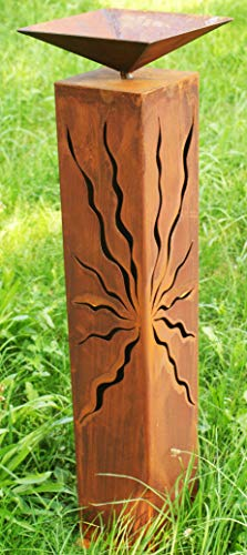Gartendekoshop24 Rostsäule Pia 80 cm mit Muster zum Beleuchten Rostdeko