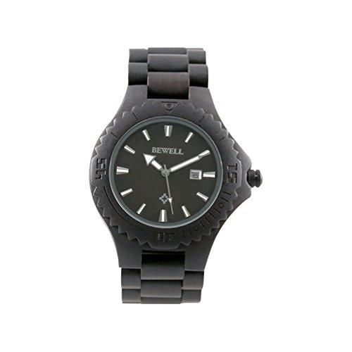 BEWELL uomo orologio automatico data Eco in legno naturale fatta a mano,Orologio in legno