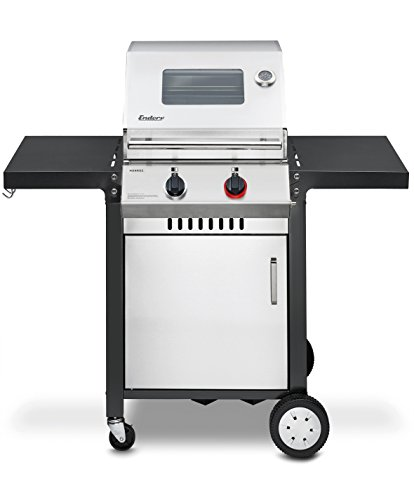Enders BBQ Gasgrill MONROE 2 S Turbo, Gas Grill 83736, Steak Turbo Zone,  Simple Clean, 2 Edelstahl-Brenner stufenlos, Grillwagen mit Grillhaube, Seitenablage