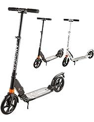 WeSkate City Roller Tretroller mit Doppelfederung und Tragegurt für Erwachsene   Big Wheel Cityroller Scooter Klappbar und Höhenverstellbar, Tret-Roller für Kinder ab 12 Jahre bis 100kg