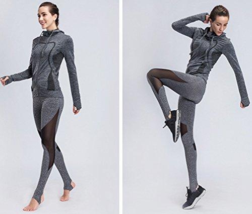 Binhee Donna Cappuccio Abbigliamento Yoga Fitness Abbigliamento Sportivo Da Esterno Grigio