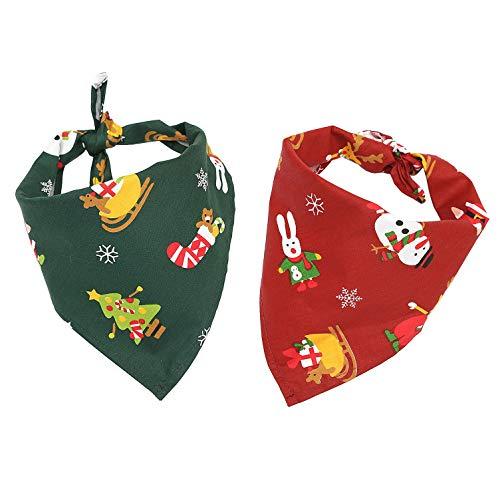 Ranphy Kopftücher für Hunde Weihnachten Hunde-Halstuch Haustier Kopftuch Lätzchen Dreieck Schal Dreieckstuch Weihnachtsmann Schneemann Tuch aus Baumwolle für Kleine und Mittelgroße Hunde 2 Stück