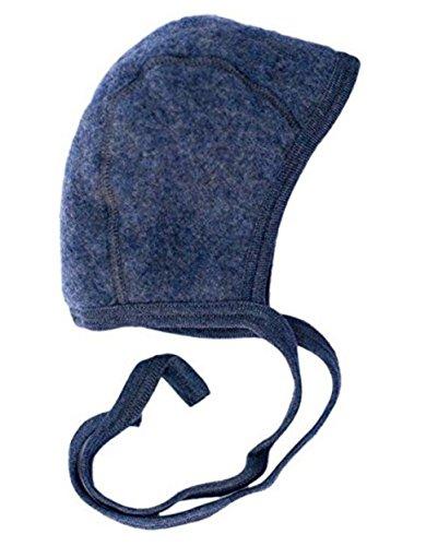 Engel Baby Häubchen Wollfleece, 50/56, blau Melange -