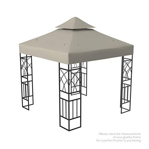 Kenley Telo di Ricambio Top di Copertura per Tetto Gazebo Giardino - 3 x 3m – Beige