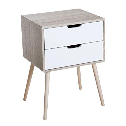 Homcom Chevet Table de Nuit 2 tiroirs Design scandinave Bicolore Pieds Effilés Inclinés Bois Massif Chêne Clair Blanc 58