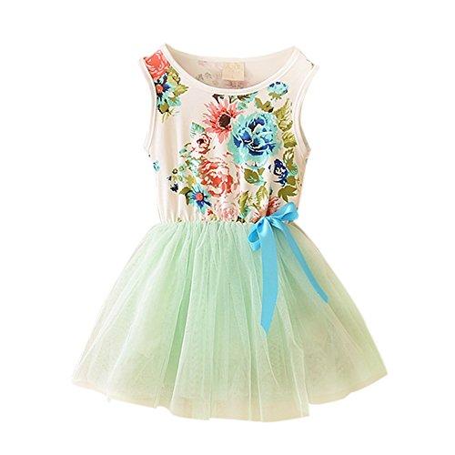 Silvercell Baby Blumen Tulle Tutu-Kleid-Prinzessin Bowknot-Weste One Piece Rock (Baby Seide Kleid)