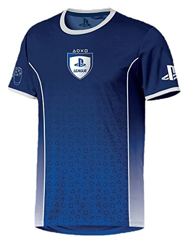 PlayStation - League Symbol Fade Herren T-Shirt - Blau, Große:S (Playstation-t-shirt)