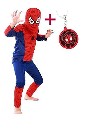 La Senorita Costume Spiderman Uomo Ragno Carnevale Bambini Spider Travestimento Ragazzo + Spider Man Portachiavi Gratuito (5-6 Anni (M))