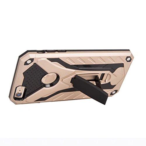 EKINHUI Case Cover Neue Hybrid-Rüstung schützende rückseitige Abdeckung Shockproof Doppelschicht PC + TPU rückseitige Abdeckung mit Kickstand für iPhone 6 u. 6s ( Color : Gold ) Gold