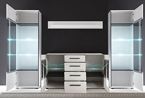 Wohnzimmer Set mit Standvitrinen & LED-Beleuchtung 270cm 4-teilig 440944 weiß - 3