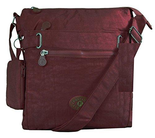 GFM Messenger-Tasche aus Stoff, mit zwei Fächern Gr. Medium, Style 1 - Burgundy (BRGLL01) -