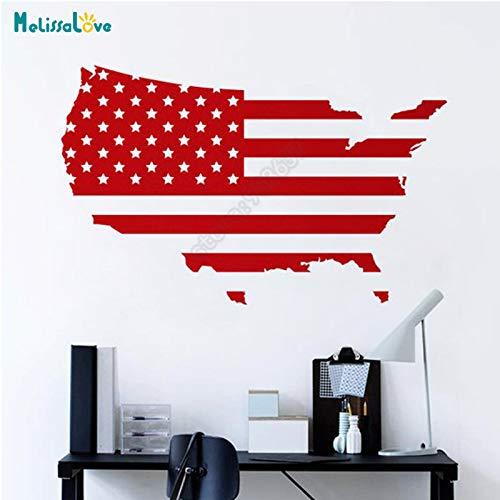 USA Karte Amerikanische Flagge Büro Aufkleber Home Wohnzimmer Dekor Vereinigten Staaten Sticker Company Abnehmbare Vinyl Wandaufkleber93x57 cm