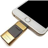 eMart iPhone USB Flash Drive da 32 GB i-Flash Drive Memory Stick Bagagli Per iPhone & iPad, Telefono Cellulare Android e Computer - Gold