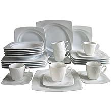 Creatable 13160 8 Celebration - Vajilla completa con platos cuadrados (30 piezas), color blanco
