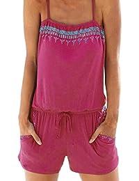 LeeY Jumpsuit, Damen Overall Sommerkleid Strand Druck mit V-Ausschnitt  Riemchen Jumpsuit Mode Lose Frauen Ärmellos High Waist Kurz… d4d625107f